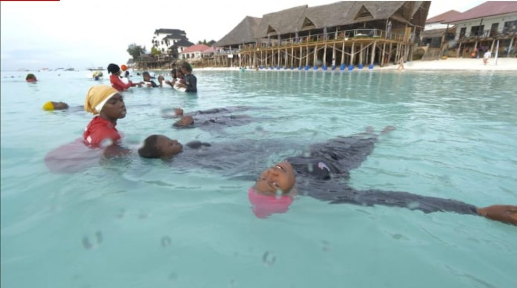 Inside 'Burkini island' where Muslim girls learn to swim